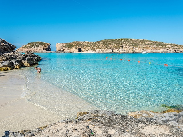 Beach in blue lagoon